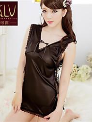 Damen Roben Besonders sexy Nachtwäsche einfarbig Polyester Schwarz