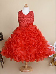 Ball Gown Knee-length Flower Girl Dress - Cotton / Tulle Sleeveless V-neck with
