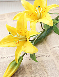33inch Long Real Touch 3 Heads Yellow Lily