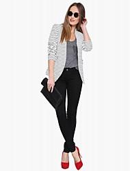 RICHCOCO® Women's Loose Black and White Horizontal Stripes Slim No Buckle Long-sleeve Blazer
