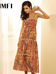 Women's Red Dress , Print Sleeveless