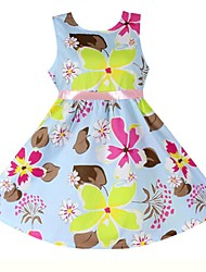 Girls Fashion Floral Belt Party Casual Kids Clothing Princess  Dresses(100% Cotton)