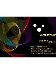 Business Cards 200pcs Colourful Line in Black Bottom Pattern 2 Sided Printing of Fine Art Filmed Paper