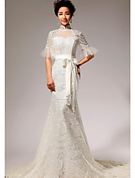 Trumpet/Mermaid Chapel Train Wedding Dress -High Neck Lace