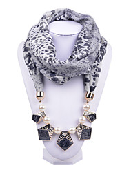 D Exceed  Women Infinity Ring Scarf Necklace Black Leopard Printing Chiffon with Pearl Beads Pendant Scarves
