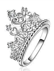 Ring European Zircon Cubic Zirconia Silver Plated Crown Silver Jewelry For Daily 1pc