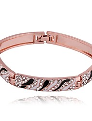 Novel Black And Whtie Women's White Rhinestones Rose Gold Plated Tin Alloy Bangle(Rose Gold)(1Pc)