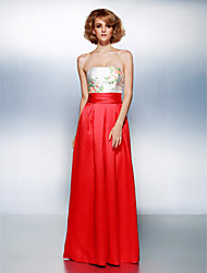 TS Couture Prom Formal Evening Dress - Color Block Sheath / Column Strapless Floor-length Satin with Beading Sash / Ribbon Ruching