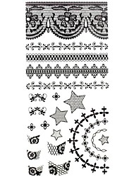 1PC 3D Black Nail Art Stickers Lace Nail Wraps Nail Decals Star Cross Heart Nail Polish Decorations