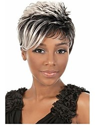 2015 African American Wigs  Fashion Short Straight  Woman's Synthetic Wigs Hair Freeshipping Gray Wig