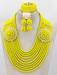 Fashion Costume African Jewelry Sets Wedding Bride Gift Crystal Beads Jewelry Set