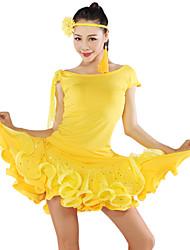 Dança Latina Blusas Tutos e Saias Mulheres Actuação Tule Fibra de Leite 2 Peças Manga Curta Topo Saia S:38 M:39 L:40 XL:41 XXL:42