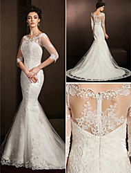 Lanting Trumpet/Mermaid Wedding Dress - Ivory Court Train Scoop Lace