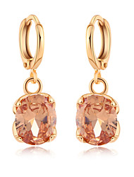 QB Woman's Fashion Crystal Gold Pendant With CZ  Earrings ER0551