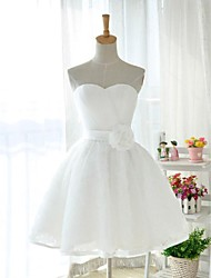 Knee-length Tulle / Stretch Satin Bridesmaid Dress - White Ball Gown Sweetheart