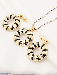 Fashion Black and White Stripes Ring Stainless Steel(Necklace&Earrings) Jewelry Set
