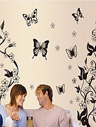 Environmental Removable Butterfly And Flower PVC Wall Sticker