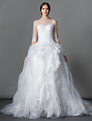 Ball Gown Wedding Dress - Ivory Court Train Bateau Lace / Organza