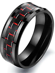 Tungsten Carbon Fiber Black & Red Colour Mens Wedding Ring Size 6 - 10