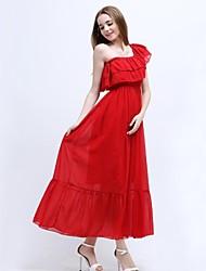 TS Women's Bohemian/Simplicity/Cute Bateau Elastic Waist Ruffle Maxi Beach Dress(Chiffon)