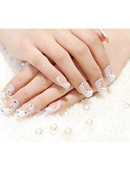 24PC 3D Flower Rinestone and Glitter Design Nails  Art Tips No.E064