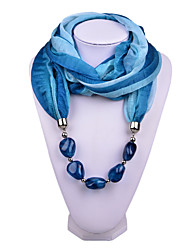 D Exceed   Women Magic Design Infinity Ring Fashion Scarf with Ocean Blue Irregular Brush Painting Beads Pendant Scarfs