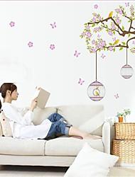 removível de vime flor ambiental e gaiola em forma de adesivo de parede