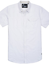 Men's Short Sleeve Shirt , Cotton Casual/Work/Formal/Sport/Plus Sizes Pure