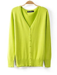 Women's V Collar Candy Color Cotton Knitted Cardigan Sweater