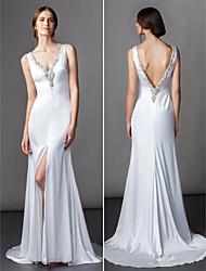 Lan Ting A-line Wedding Dress - Ivory Sweep/Brush Train V-neck Satin Chiffon