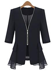 Damen Solide Blazer Sommer ¾-Arm Weiß / Schwarz Baumwolle Dünn