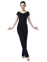 encaje de manga corta traje de yoga negro de las mujeres