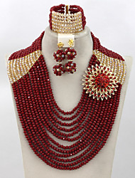 Luxury Burgundy Wine African Wedding Beads Jewelry Set 18k Gold Plated Crystal Necklace Set
