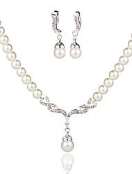 Conjunto de jóias Mulheres Aniversário / Casamento / Noivado / Presente / Ocasião Especial Conjuntos de Joalharia Liga Pérola / Strass