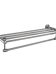 Brushed Stainless Steel Bathroom Minimalist Towel Rack Shelf with Foldable Towel Bars Wall Mounted, A2115-2