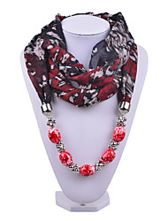 D Exceed Women Floral Printing Chiffon Scarf Red Acrylic Brush Painting Beads Pendant Scarves