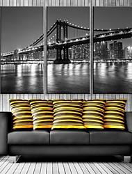 E-HOME® Stretched LED Canvas Print Art City Bridge Flash Effect LED Flashing Optical Fiber Print Set of 3