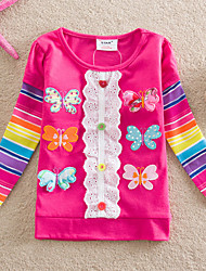 Girl's Spring/Fall Printed Flower Medium Long Sleeve Tees (Cotton)