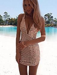 v profundo mini vestido das mulheres, prata elástica sexy