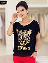 bs®women der runden Kragen lässig die Leoparden-Print Kurzarm-T-Shirt
