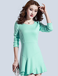 Women's Casual/Party Long Sleeve Ruffled Dresses (Polyester)