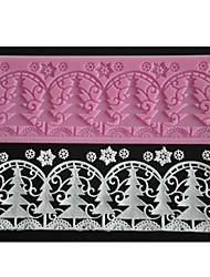 quatre c tapis de dentelle de gaufrage gâteau d'arbre de Noël de couleur de moule de conception rose