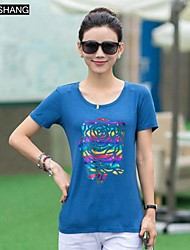 Digital Graffiti runden Kragen lässig Blumendruck Kurzarm-T-Shirt ist bs®women