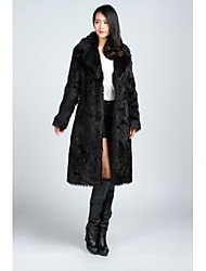 Faux Leather Coats/Jackets Long Sleeve Faux Fur Black