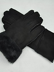 Women Black Winter Warm Gloves Genuine Fur Leather Lambskin Pelt Shearling Free Size