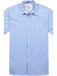 coton à manches courtes occasionnel vichy chemise bleue des hommes