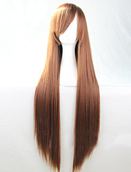 Cosplay Hot Models High-quality Synthetic Wig 80cm High Temperature Wire Straight Hair Brown Long Straight Hair