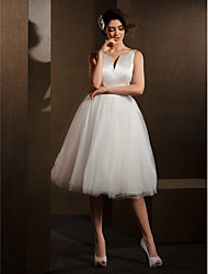Lanting Ball Gown Wedding Dress - Ivory Knee-length V-neck Satin/Tulle