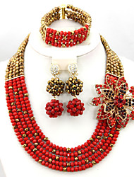 African Jewelry Sets 18k Indian Costume Fashion Beads Jewelry Set Bridal Necklace Bracelet Earrings Set