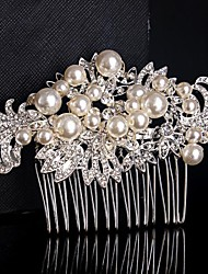 Fashion Wedding Begie Pearl Bride Flower Combs Hair Accessories